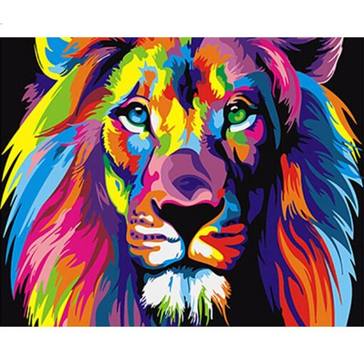 Abstract lion paint by numbers | My Art Hour