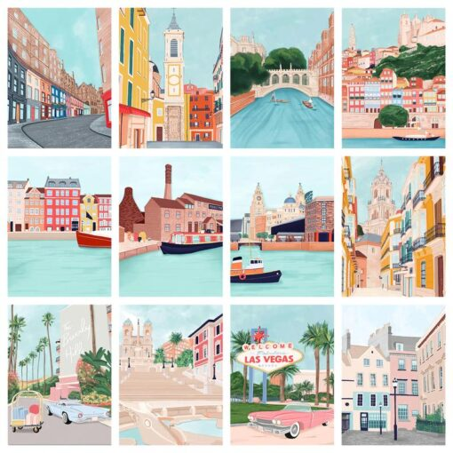 Famous Cities Paint By Numbers | My Art Hour