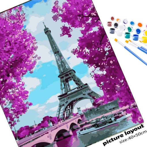 Paris Eiffel Tower Paint By Numbers | My Art Hour