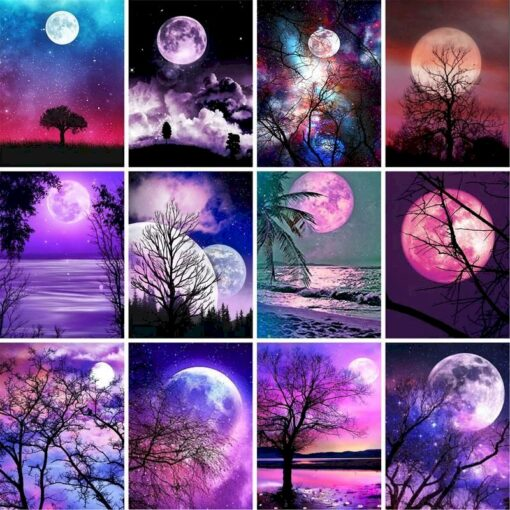Purple Moon Paint By Numbers | My Art Hour